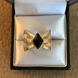 Black Onyx & 925 Silver Ring - Size 7